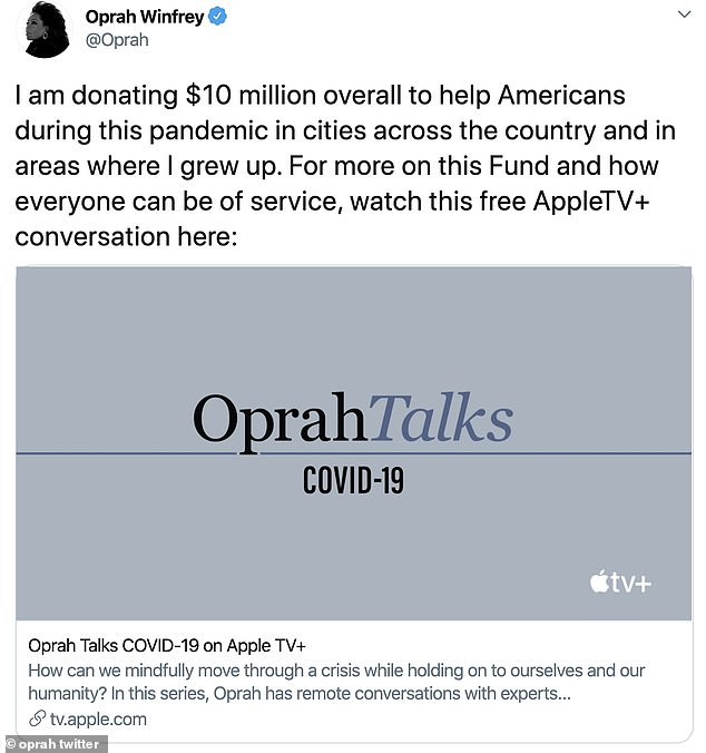 Big announcement: Winfrey shared news of her donation on Twitter