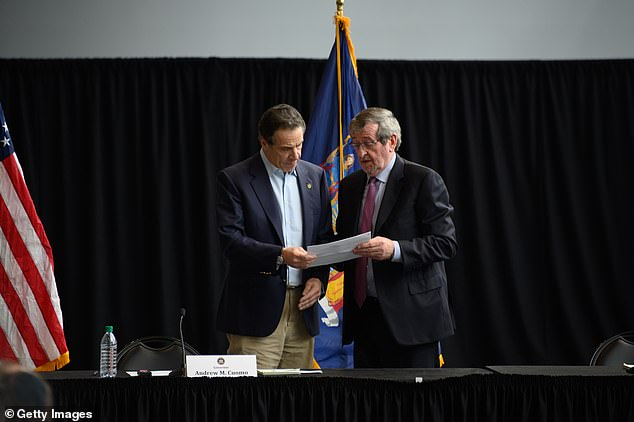 New York Governor Andrew Cuomo and Northwell Health CEO Michael J. Dowling speak at a press conference at the Jacob Javits Convention Center during the coronavirus pandemic on March 30. Both criticized the USNS Comfort docked in Manhattan