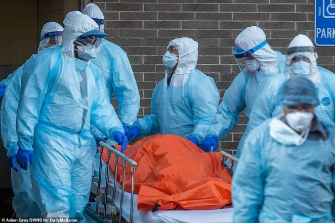 Wyckoff Medical Center on Thursday where bodies were loaded onto a refrigerated truck. The death toll in New York state rose by 256 on Thursday and the city continues to be the epicenter of the battle against coronavirus in the United States