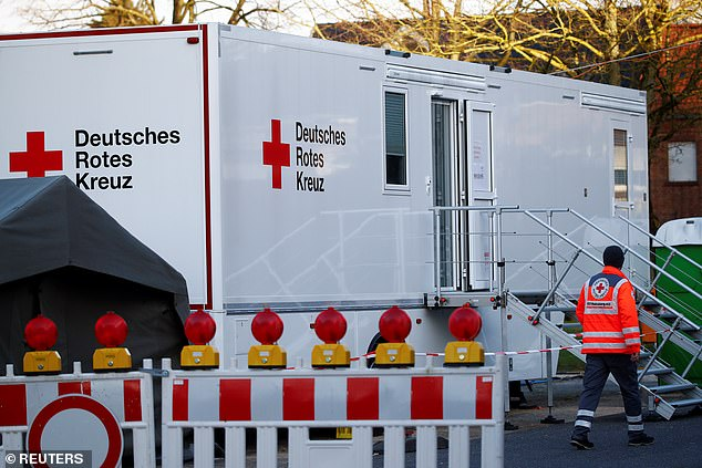 A mobile testing station for coronavirus disease (COVID-19) is pictured in the town of Gangelt in the local district of North Rhine-Westphalia in Heinsberg in March
