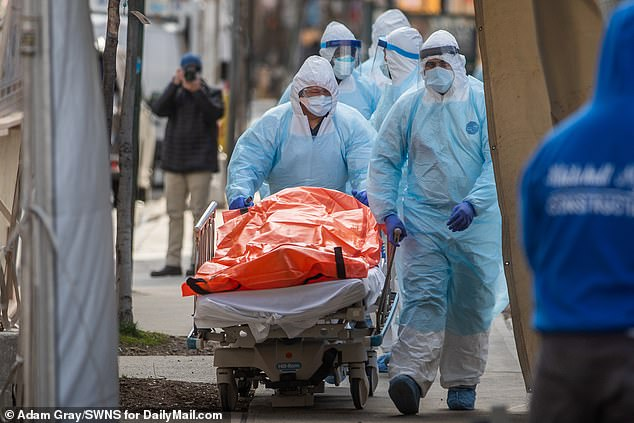 Hospitals and health care professionals are struggling to keep the crisis under control and the city is swamped with corpses as the pandemic is about to kill more New Yorkers than September 11.