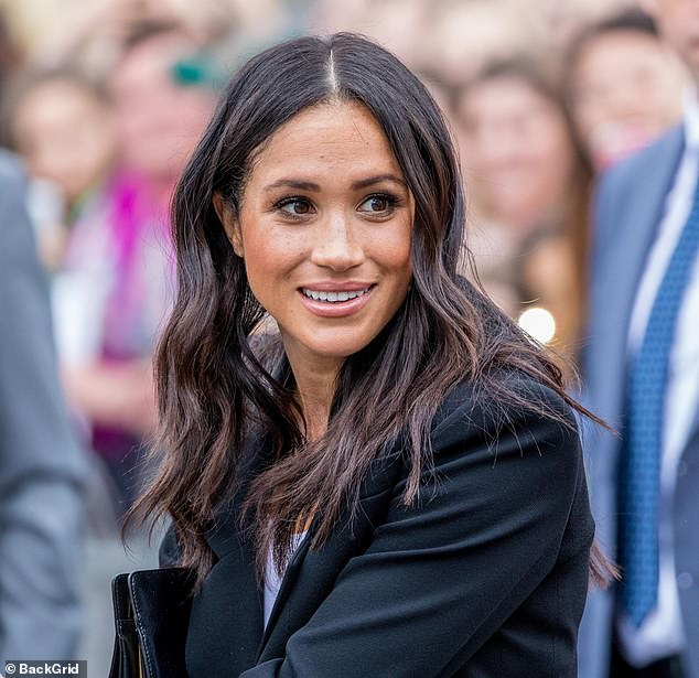 The Duchess of Sussex (pictured in September 2019), 38, met filmmakers Mark Linfield and Vanessa Berlowtz over lunch during a trip to Botswana