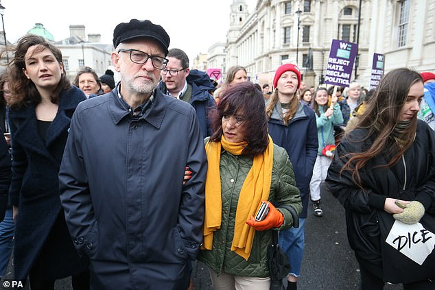 Laura Alvarez (pictured centre last month) said her hard-Left husband, 70, had been 'attacked by his own party' on his way to overseeing its world election defeat since the 1930s in December
