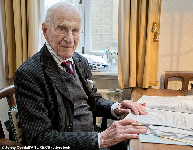 Dr Alfred William Frankland pictured aged 105. The pioneering immunologist, who was made an MBE for allergy research, has died at the age of 108
