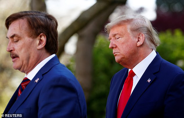 MikeLindell spoke at a White House press conference Monday and was introduced by President Donald Trump as 'my friend'