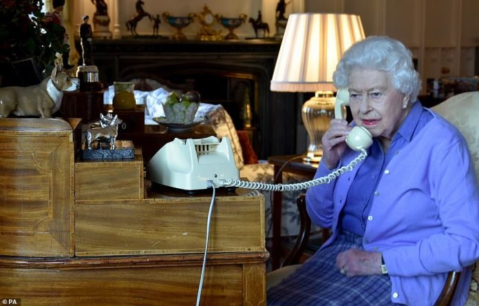 The Queen chats with Prime Minister Boris Johnson of Windsor Castle on March 25 last week