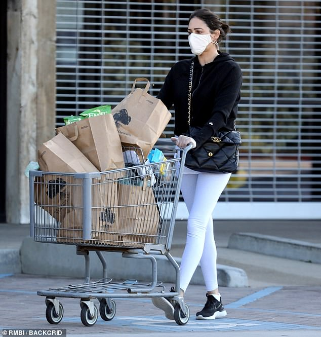 Stocking up: She pushed a shopping cart filled to the brim with brown bags to her car, no doubt stocking up for further self-isolation along with her family