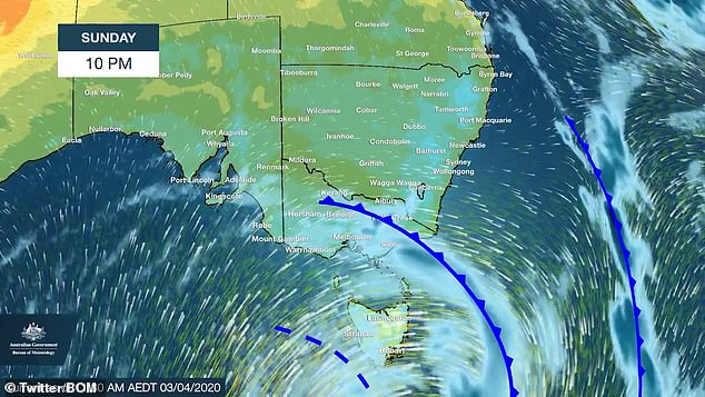 A gusty cold front moivng across south-east Australia will bring strong winds and cooler temperatures