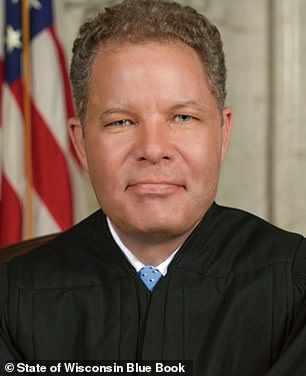 Trump didn't name Justice Daniel Kelly (pictured) in the press briefing, but had tweeted an endorsement of his state Supreme Court run earlier Friday