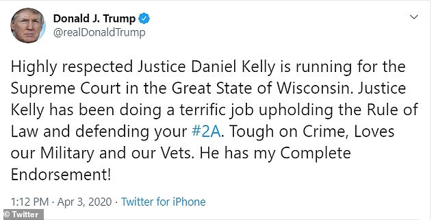 Earlier Friday, the president announced his support for Justice Daniel Kelly who's on the ballot Tuesday in Wisconsin to keep his state Supreme Court seat