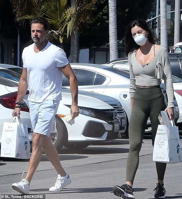 Getting supplies: David Charvet, 47, decided not to wear a mask during a grocery run in Los Angeles on Friday with new girlfriend Oksana Rykova