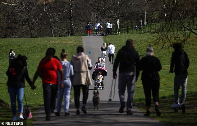 Despite persistent calls from ministers to stay home and maintain social distance, people still gathered in London's Greenwich Park, pictured on Saturday