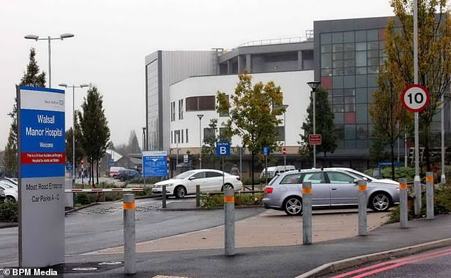 The nurse died in intensive care at Walsall Manor Hospital (pictured), West Midlands