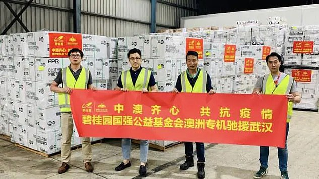 Last month, Risland published an online article that declared its support for Wuhan and showed workers inside a warehouse filled with thousands of boxes of protective clothing (photo).
