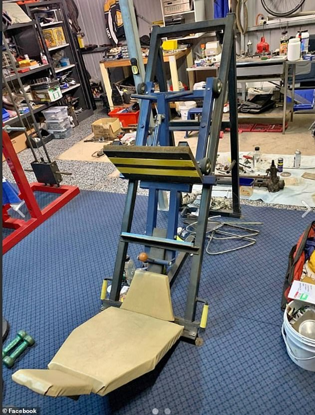 With the population now working out from home, one man listed his gym press leg machine for sale for as much as $500 (pictured)