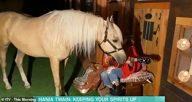 Stealing the show:The horse appeared enamoured by Shania's singing and continued to lean closer towards her face and her guitar, often blocking her out of view completely