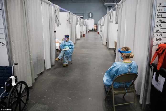 Soldiers assigned to Javits New York Medical Station (JNYMS) monitor COVID-19 patients in the facility's intensive care unit. There are 2,500 beds in the facility, which was built by the military in just five days