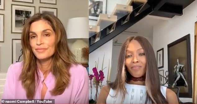 Future: Naomi revealed to Cindy Crawford, 54, she doesn't think things will go back to the way they were after the coronavirus pandemic ends and admitted she is 'loving' being in self-isolation