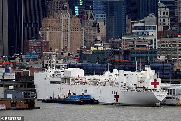 The USNS Comfort arrived in New York City on March 30 to take in non COVID-19 patients to alleviate the burden of New York and area hospitals . The ship pictured docked at Pier 90 on Manhattan's Upper West Side on April 3