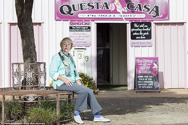 The selling of Club 181 leaves just one brothel standing in Kalgoorlie's red light district - Questa Casa otherwise known as the Pink House (pictured with owner Madam Carmel)