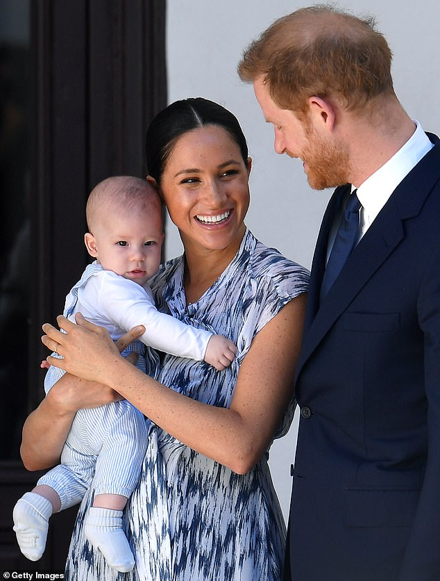 This comes when the couple announced the launch of a new charitable foundation called Archewell. They also revealed that the Greek word for the Ark project - which means source of action - was the inspiration behind the name of their son Archie Mountbatten-Windsor, baby Archie is pictured above with his mother and father in Africa. from the South last September in September last year.
