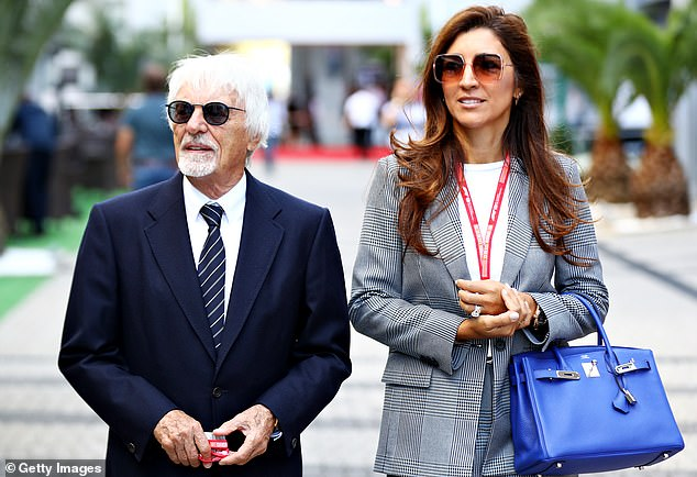 Happy: It was revealed last week that former Formula 1 boss Bernie is expecting his first son with his third wife, 44-year-old Brazilian marketing director Fabiana (photo in 2019)