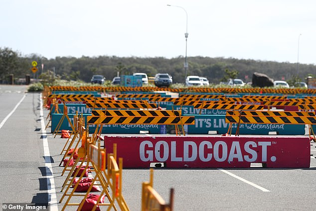 Barricades were set up at The Spit in Queensland to deter those who want to go to the beach
