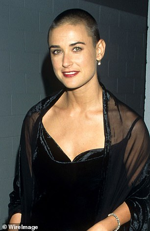 Pictured: Demi sported a fashionable haircut for her role in the 1997 Ridley Scott film, G.I. Jeanne