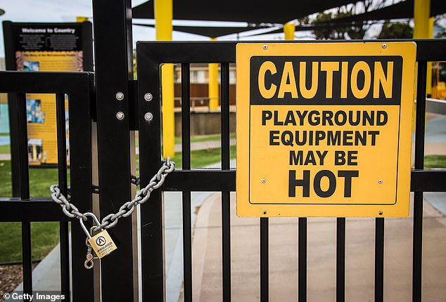 A playground at Mollymook on the NSW South Coast was padlocked shut to deter visitors