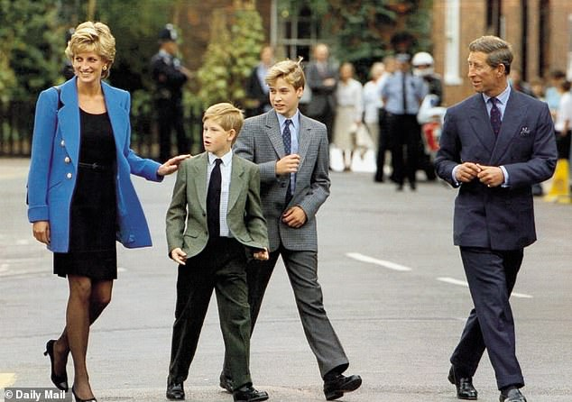 London-born Naomi, 49, chatting with Cindy, 54, at her LA home, said she was spending the afternoon with Princess Diana in 1995 when William, then 13 years old, was coming home from school. Pictured: Princess Diana, Prince Harry, Prince William and Prince Charles in 1995