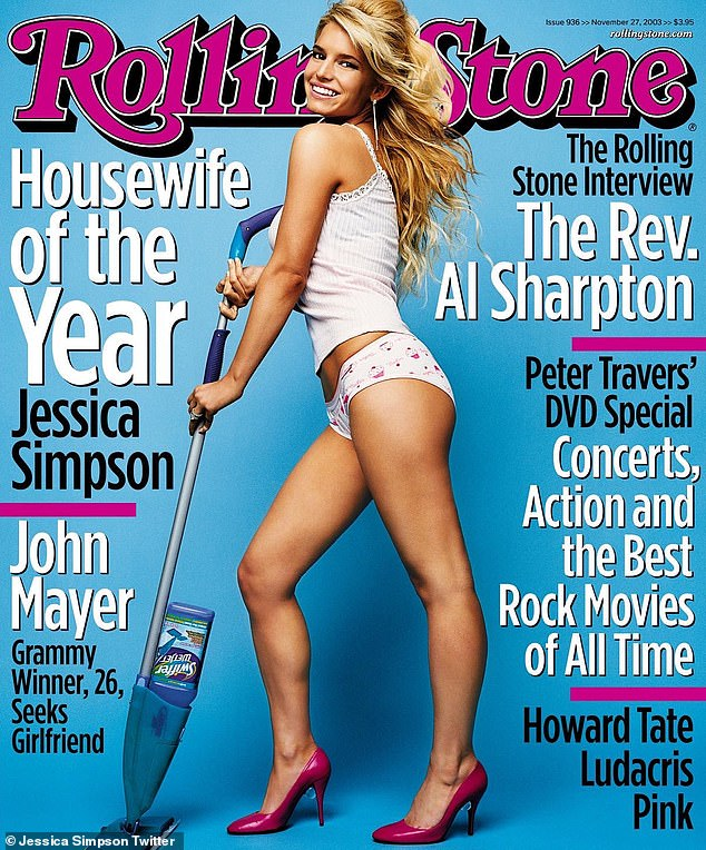 A star is born: She posted it with the November 2003 magazine cover, which featured a 23-year-old Simpson posing with a Swiffer while wearing some sexy underwear and pink heels