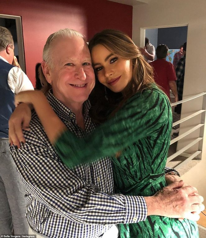 Love: Sofia threw her arms around her co-star and onscreen husband Ed O'Neill, [Jay Pritchett]