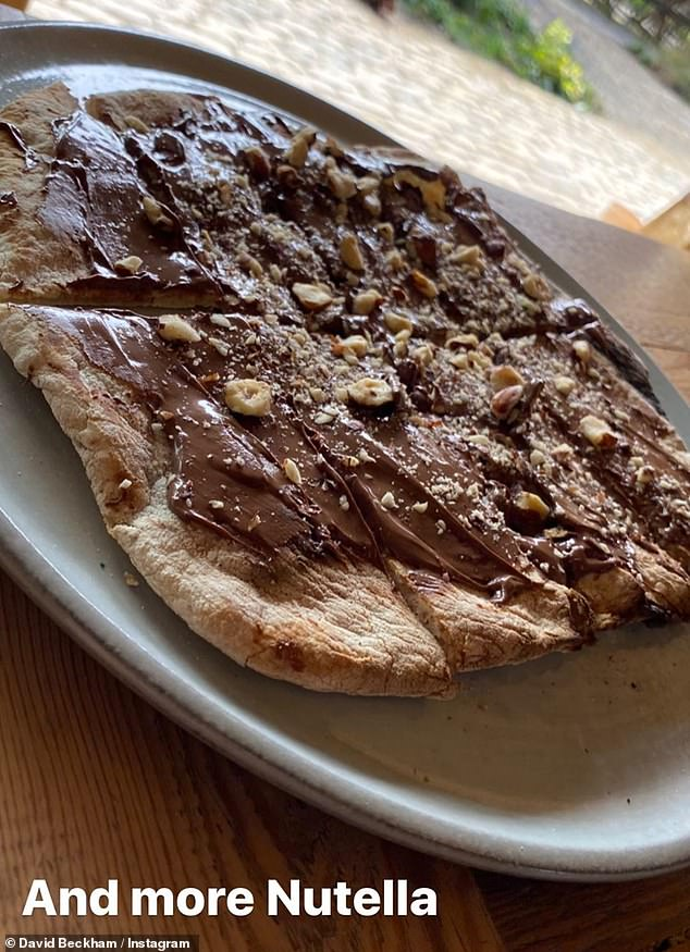 Very nice: A Nutella flatbread was also served up by Beckham during his cooking demonstration on Wednesday