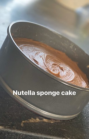 Tasty treat: Beckham, who developed a passion for cooking at the height of his playing career, also gave followers a step by step guide as he made an impressive Nutella sponge cake for his children