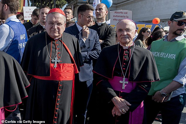 Carlo Maria Vigano (right) and Cardinal Raymond Leo Burke (left) at a 'National March for Life' against abortion and euthanasia in Rome in 2018