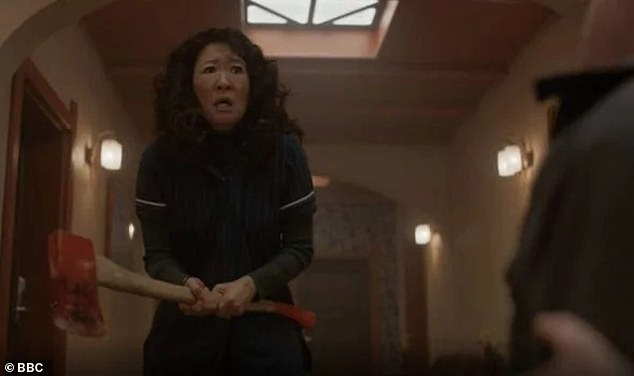 In the final episode of the second series, Eve herself became a killer - clubbing Raymond (Adrian Scarborough) of the 12 in a hotel corridor while he did his best to strangle Villanelle