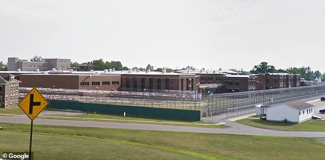 He had been placed in isolation after testing positive for Covid-19 in mid-March at Wende Correctional Facility, a maximum security prison east of Buffalo (pictured). He's being held in the prison's residential mental health unit, where he remains on suicide watch, a prison official said