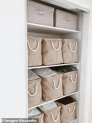 One of her favourite buys has been giant laundry fabric bags from Zoobibi (pictured) for her linen cupboard, as they hide whatever mess is inside