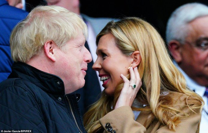 Boris Johnson's condition is improving - and he may have even been able to speak to his pregnant fiancée Carrie Symonds (right), although Downing Street has not confirmed this.