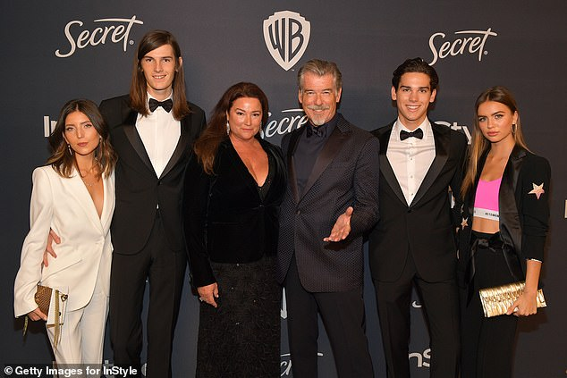 Family: Avery Wheless, son Dylan, Keely, Pierce, son Paris and Alex Lee (L-R) photographed in January at the Golden Globes