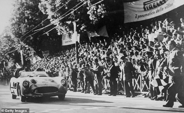 Moss on the verge of winning the Italian Mille Miglia race - his most famous race ever
