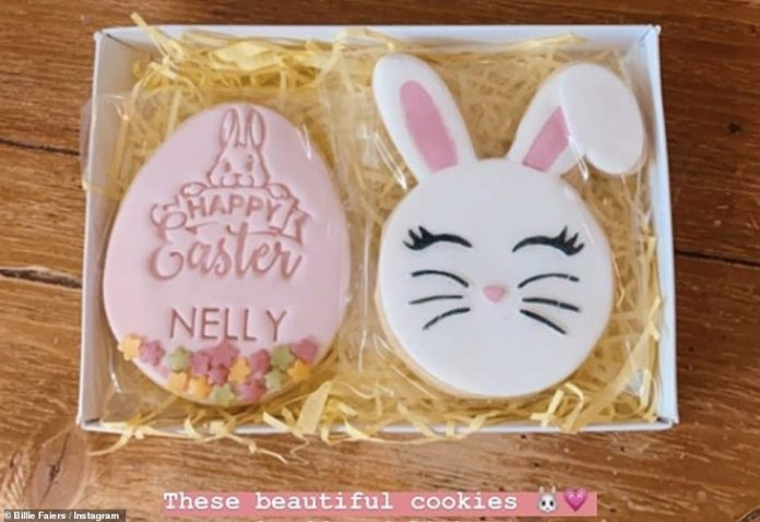Sweet sweets: her two children received personalized Easter-themed cookies