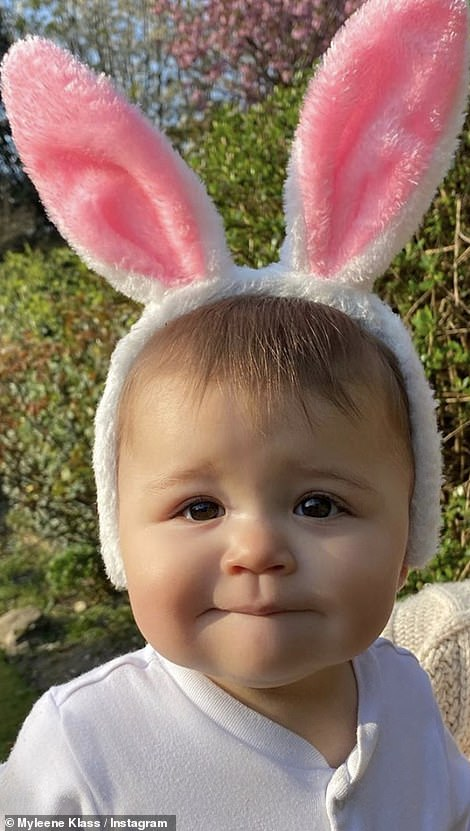 Little Boy: Myleene Klass, 42, melted hearts with the most adorable photograph of baby Apollo wearing pink and white rabbit ears