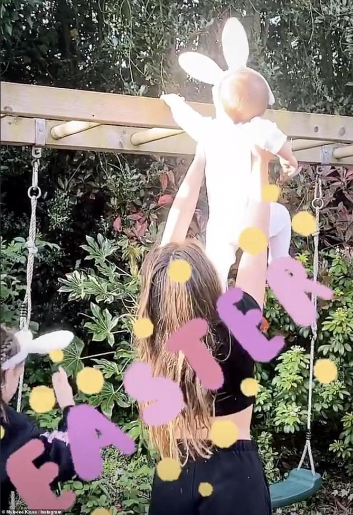 Family Moments: Myleene also shared sweet videos of her two daughters, Hero, 9, and Ava, 12, taking their little brother on an Easter egg hunt in the garden
