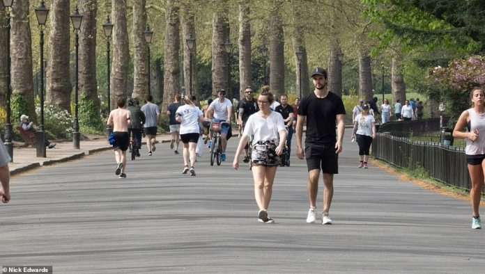 Battersea Park in southwest London was filled with people jogging, walking and biking on Sunday morning. Government advice says people are allowed to leave for one hour of exercise a day, but some people get the daily allowance