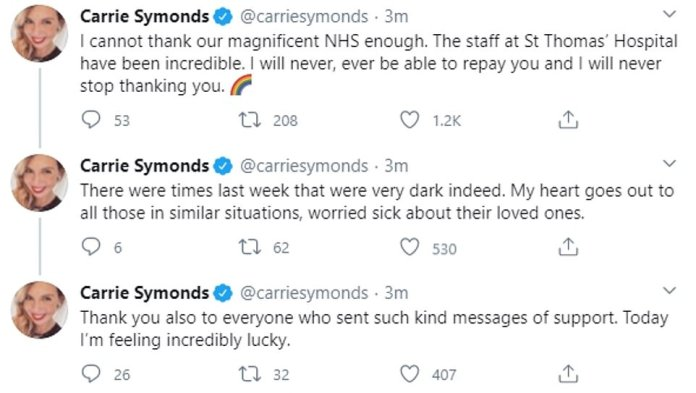 His pregnant fiancée Carrie Symonds tweeted his praise for the staff at St Thomas Hospital, adding: `` There were moments last week that were really very dark