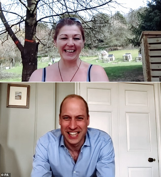 In the images of the last royal video call to be released in the middle of the pandemic, William gave a `` virtual high high '' to the charity Moorlands, conveying his good wishes for the `` fantastic work '' that his members.