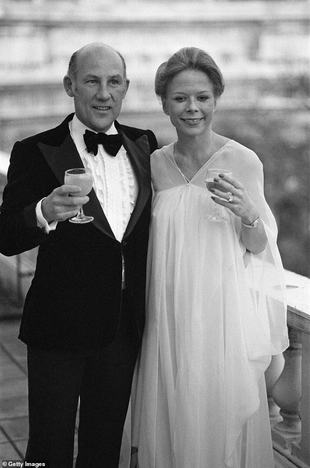 Stirling Moss pictured on his wedding day with new wife Susie Paine in April 1980