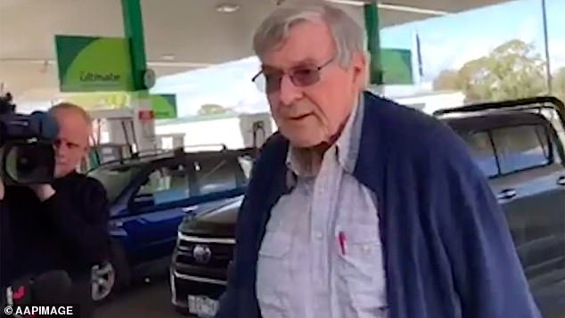 The 78-year-old travelled from Melbourne to Sydney on Wednesday - stopping briefly at a petrol station (pictured in forecourt)
