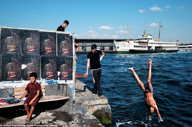 Turkish photographer Bülent Suberk was shortlisted in the street photography category for this joyful image of children from Syrian immigrant families and other youngsters cooling off in the water of the Bosphorus in Karaköy, Istanbul
